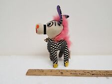 1960? PSYCHADELIC MOP PETS CHECKED AND PINK HAIR STUFFED HORSE WITH TAG AND BELL