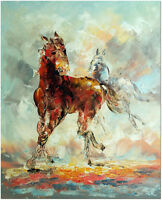 Signed Hand Painted Palette Knife Abstract Horse Oil Painting On Canvas