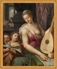 Allegory of Music Frans Floris Kinder Kampf Nackt Laute Singen Mutter B A2 01876
