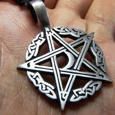 Celtic Moon Pentagram Star Pewter Pendant Charm with Cotton Necklace # 142