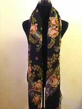 Turkman Shawl Fringed Scarf 100% Wool Large Russian Black Floral Square Scarf