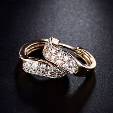18k gold filled women swarovski crystal costume hoop stud earrings jewellery
