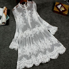 Women White Long Sleeve Tank Top Extender Lace Dress Layering Party Underskirt