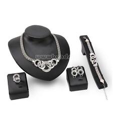 Women Wedding Crystal S925 Earrings & Necklace & Bracelet & Rings Jewelry Set