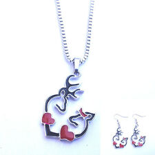 HOT 1 set of black Browning Deer Necklace & earrings Fashion Jewelry !