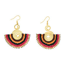 "2 1/4"" Pink Multi-Color String Wrapped Spiral Half Circle Gold Dangle Earrings"