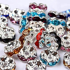 50pcs/lot Fashion Rondelle Spacer Beads 8mm Silver /Crystal AB New