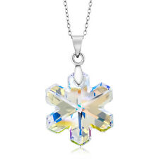 "Aurore Boreale Snowflake Pendant on 18"" Chain Created with Swarovski® Crystals"