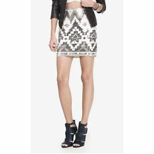 NEW SOLDOUT EVERYWHERE WOMENS EXPRESS TRIBAL SEQUIN AZTEC SKIRT S S IVORY SILVER