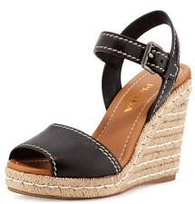 Sz 40 PRADA Black Leather  Espadrille Wedge Sandal Ankle Strap Slingback Shoes