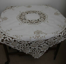 "VINTAGE MADEIRA STYLE LINEN TABLECLOTH CREAM BEIGE  38"" X 40"" (4865)"