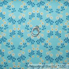 BonEful Fabric Cotton Quilt VTG Blue Yellow White Dot Flower Daisy Spring SCRAP
