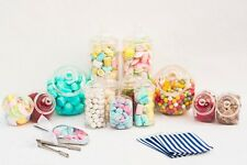 X10 Plastic Sweet Jars Small & Large Kit X100 Blue Bags X2 Tongs & Scoops Candy