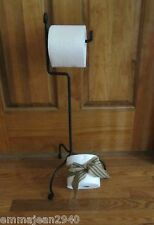 Amish forged sturdy standing toilet paper holder in black wrought iron - one