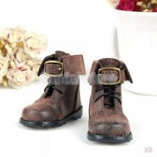 8x Brown 1/4 PU Leather Doll Boots Shoes for BJD MSD DOD LUTS Fashion