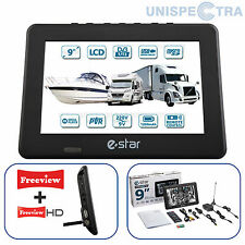 "MOTORHOME CARAVAN BOAT 12V 9"" Inch Portable LCD TV Freeview HD 12 Volt USB & PVR"