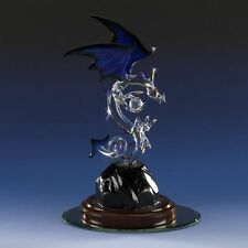 Dragon Glass Figurine Mythical Midnight Blue Swarovski Crystal Ball Sandblasted