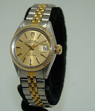 TUDOR/ROLEX STAINLESS & GOLD WOMENS AUTOMATIC PRINCESS OYSTERDATE WATCH 92413