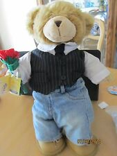 BUILD A BEAR - BEAR WITH CLOTHES - SUIT N TIE - JEANS - SHOES - BOUQUET OF ROSES