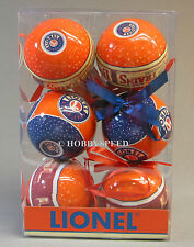LIONEL LOGO CHRISTMAS ORNAMENTS 6 ornaments  train christmas tree bulb 9-21014