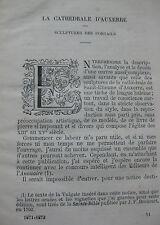 La Cathédrale d'Auxerre Sculptures des portails E Daudin Bourgonne 1872