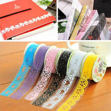 5X Roll DIY Washi Paper Lace Decorative Sticky Paper Masking Tape Self Adhesive
