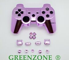 Custom PS3 Controller Pink Chrome Shell Mod Kit + Matching Buttons set