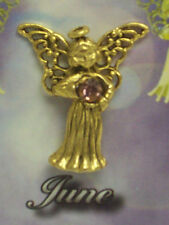 June Guardian Angel Pin Birthstone Antiqued Gold Plated Message Miracles