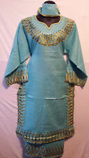 Women African Clothes Dress Skirt Suit Sea Green Gold Dashiki outfit set 1 Size
