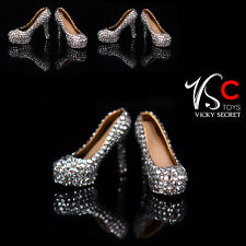 VStoys Type C 1/6 Silver Crystal High Heels Plastic Shoes F 12'' Female Body