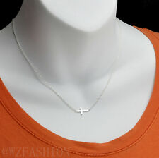 "Real sterling silver .925 sideways cross pendant with silver necklace 16""-18"""