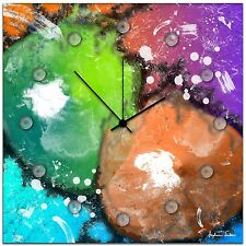 Abstract Metal Wall Clock Colorful Neon Rainbow Funky Contemporary Paint Splat