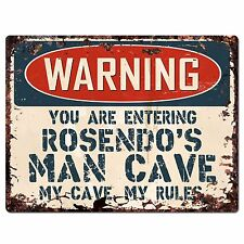 PP4121 WARNING ROSENDO'S MAN CAVE Chic Sign Home man cave Decor Funny Gift