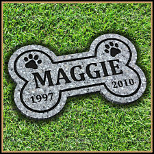"Pet Memorial Grave Marker 7"" x 12"" Bone Shaped Headstone Dog Cat Gravestone"