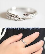 925 Sterling Silver - Stylish Feather Leaf Style Lady Open Ring Jewelry Cocktail