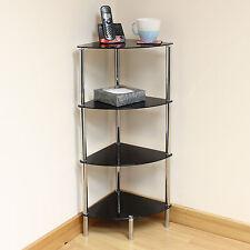 Hartleys 4 Tier Black Glass Corner Side/End Table Shelf/Display Unit Lounge/Hall