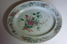 "Large 17.5"" Chinese 18thC Famille Rose Oval Plate Flowers on Orange Peel Ground"