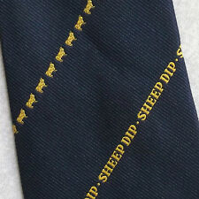 SHEEP DIP TIE CLUB ASSOCIATION 1970s 1980s RETRO FARMING FARMER NAVY GOLD