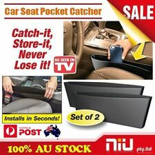 2PCS Black Catch Catcher Box Caddy Car Seat Gap Slit Pocket Storage Organizer AU