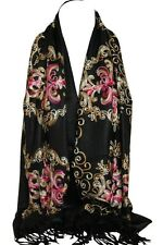 Black Embroidered Pashmina Feel Wrap Scarf Scarves Stole Shawl Hijab