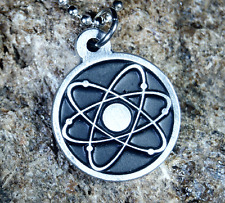 Pewter Atom Symbol Atomic Sign Pendant Chain Included - LN#1140 -