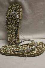 NEW Womens Shoes Brown Silver Leopard Flip Flops Small 5 - 6 Summer Sandals