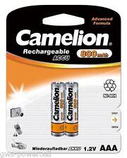 2 x Camelion AAA mirco hr03 800mah blister teléfono NiMH batería 1,2 V