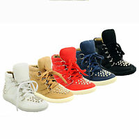 NEW WOMENS LADIES GIRLS LACE UP STUDDED HI-TOP TRAINERS SNEAKERS SIZE 3-8 929-70