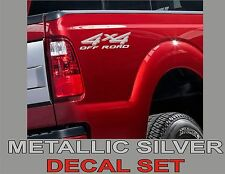 4x4 Truck Bed Decals, Silver Metallic (Set) for Ford Super Duty, F-250 etc.