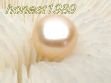 Genuine natural AAA+++ 11mm golden pink loose half drilled cabochon bread pearl