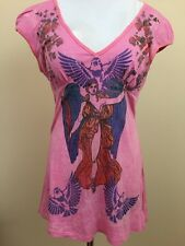 Butterfly Dropout Pink Graphic Design Tunic Cap Sleeve Top Large #2569