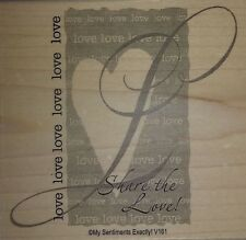 NEW MSE! My Sentiments Exactly! Mounted Wood Rubber Stamp V161 Love Collage