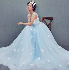 Light Blue Applique Butterfly Train Wedding Dress Quinceanera Prom Pageant Gown