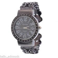 HS 1 Vintage Hohl Damenuhr Armbanduhr Trend Quarz Uhr Watch Schwarz 17.5cm
